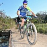 Andrew Hill (pictured) and Bianca Haw won the 45km feature of the Scottburgh MTB Race today. Photo: Gavin Ryan/QuickPix/Gameplan Media