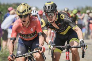 Bahrain-Merida's Domenico Pozzovivo and Direct Energie's Thomas Boudat on stage nine of the Tour de France