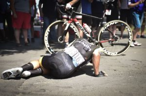 LottoNL-Jumbo's Dylan Groenewegen suffers a fall on stage nine of the Tour de France