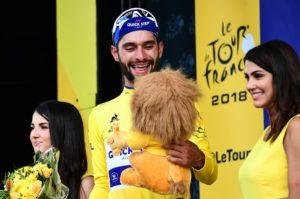 Fernando Gaviria after winning stage one of the Tour de France