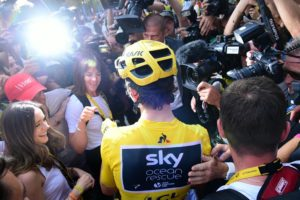 Team Sky's Geraint Thomas interviewed by the press