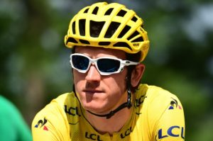 Team Sky's Geraint Thomas in the yellow jersey on stage 19 of the Tour de France