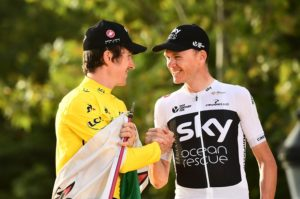Team Sky's Chris Froome congratulates teammate Geraint Thomas after his Tour de France win