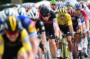 Yellow-jersey wearer Greg van Avermaet of BMC Racing Team spotted in the peloton on stage eight of the Tour de France