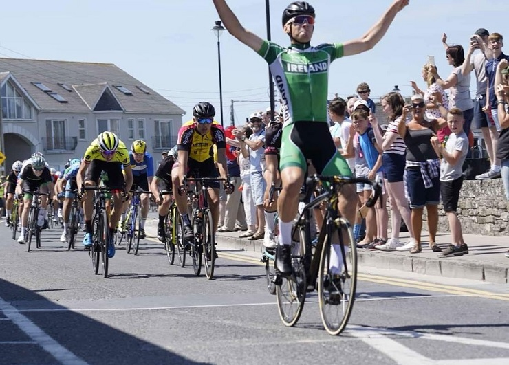 Team Ireland's Shay Donnelly sprinted to victory on the 94.6km second stage of the Junior Tour of Ireland yesterday. Photo: Richard Quinn