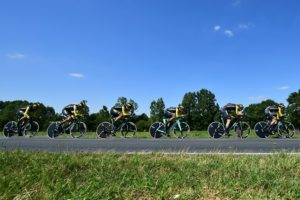 LottoNL-Jumbo during the team time-trial on stage three of the Tour de France