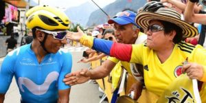 Movistar's Nairo Quintana greets fans on stage 13 of the Tour de France