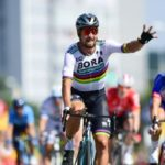 Bora-Hansgrohe's Peter Sagan left it late to win in a sprint finish on stage two of the Tour de France today. Photo: ASO/Alex Broadway