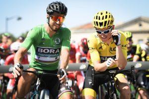Bora-Hansgrohe's Peter Sagan and Team Sky's Geraint Thomas