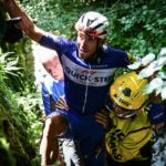 Philippe Gilbert after he suffered a fall on stage 16 of the Tour de France