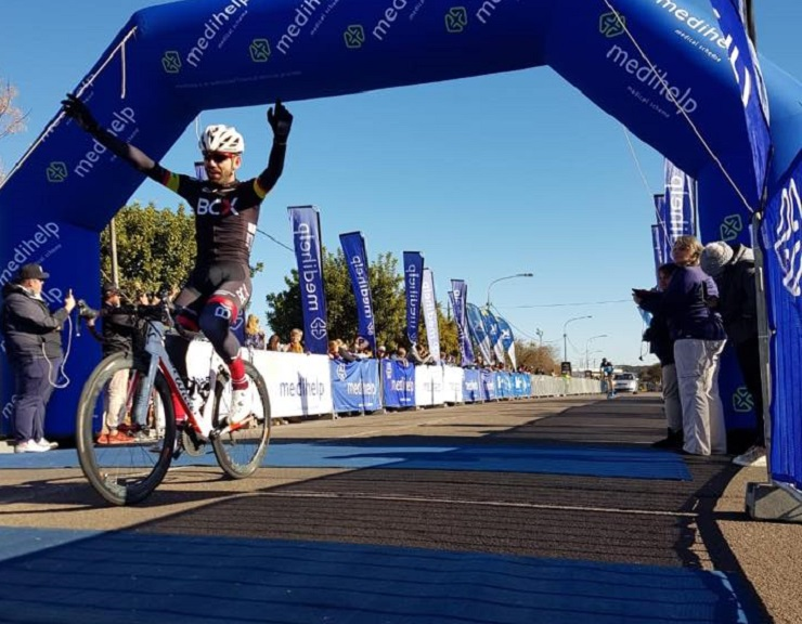 Steven van Heerden was delighted to sprint to victory in the inaugural 100km trapNET 360 cycle race in Centurion today. Photo: Facebook/@trapnetcycling