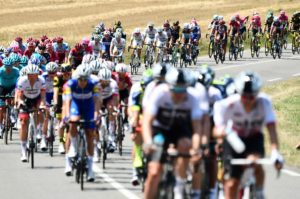 A bunch of riders in action on stage four of the Tour de France
