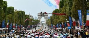 Celebrations underway during the final Tour de France stage