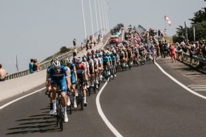 The peloton in action during stage one of the Tour de France