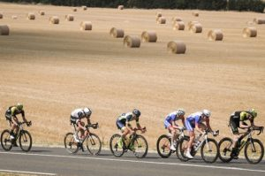 A bunch of riders during stage seven of the Tour de France.