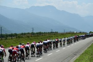 The peloton in action during stage 19 of the Tour de France.