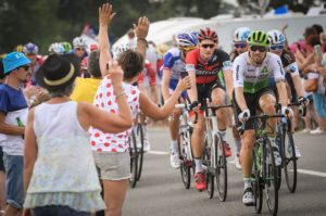 Fans greet riders on stage seven of the Tour de France