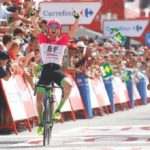 EF-Drapac's Simon Clarke came out on top in a three-man sprint to win the 188.7km fifth stage of the Vuelta a Espana today. Photo: Unipublic/Luis Ángel Gómez