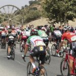 A group of cyclists in action during a previous Vuelta a España stage