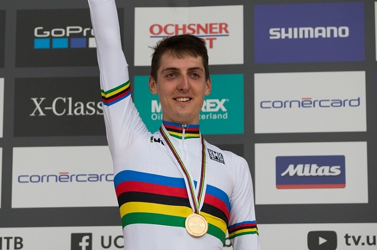Alan Hatherly pictured wearing his world champion rainbow jersey following his victory at the UCI Mountain Bike World Championships over the weekend. Photo: Michal Cerveny
