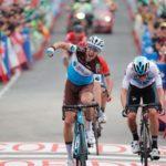 Alexandre Geniez won a six-man sprint to claim victory in the 181km stage 12 of the Vuelta a Espana in Mañón today. Photo: Unipublic/Luis Ángel Gómez
