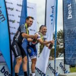 Brad Gouveris (left) and Anriette Schoeman win Bestmed Makro Cycle Tour