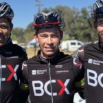 BCX's Chris Jooste (middle) was delighted to share a team victory at the Race for Victory alongside the second-placed Nolan Hoffman (left) and Steven van Heerden (right). Photo: Team BCX/Twitter