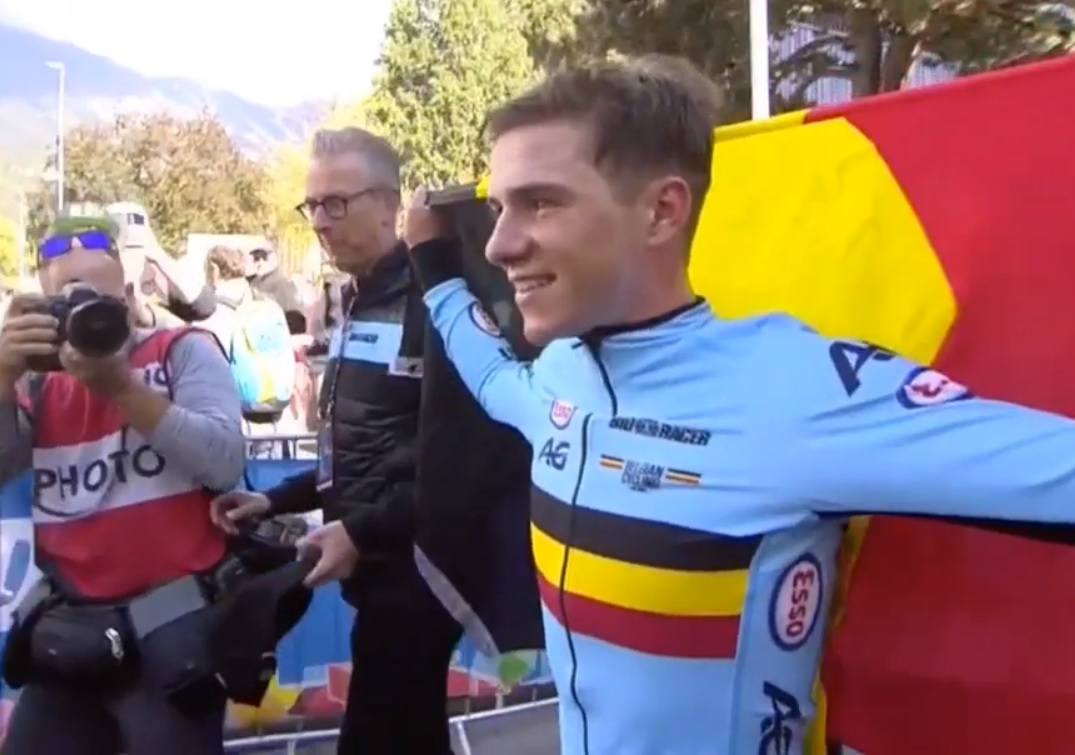 Belgium's Remco Evenepoel pictured after winning the junior men's individual time-trial at the UCI Road World Championships today. Photo: tiz-cycling.racing