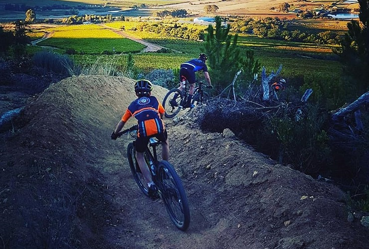 Ryan Visser and Christina du Plessis-Kannemeyer won the respective men's and women's 54km first stage of the Rock MTB Stage Race today. Photo: Facebook/The Rock Stage Race and Trail Fest