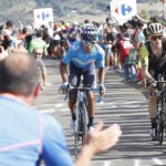 Simon Yates (right) took back the race lead after winning stage 14 of the Vuelta a Espana