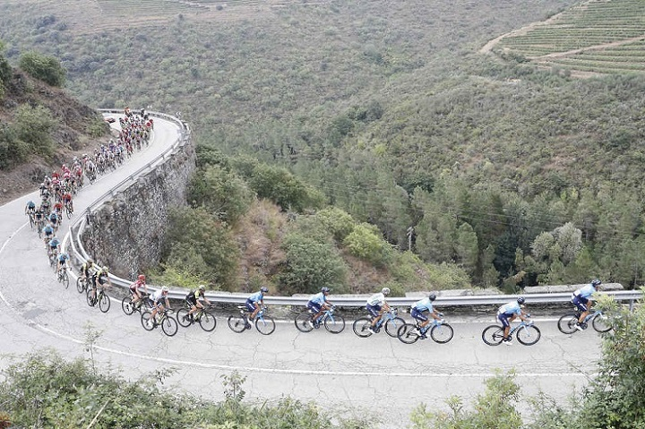 A bunch of riders in action during a previous stage of the Vuelta a Espana