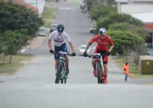 Winners Alan Hatherly (left) and Simon Andreassen in action on a road section during the prologue of the Cape Pioneer Trek. Photo: Zoon Cronje