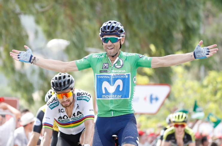 Spain's Alejandro Valverde, pictured here during this year's Vuelta a Espana, won the rainbow jersey at the UCI Road World Championship