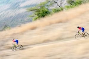 Riders moving swiftly down a descent during stage three of the Berg and Bush 'Descent'. Photo: Em Gatland/Nikon