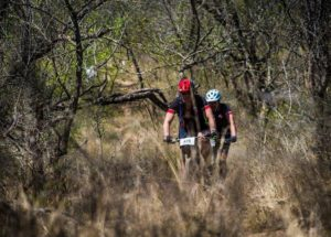 A couple of riders moving through a dry section during stage two of the Berg and Bush 'Descent'. Photo: Tobias Ginsberg
