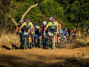 Riders charging forward during stage two of the Berg and Bush 'Descent'. Photo: Tobias Ginsberg