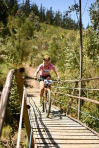 A rider moving over a bridge during stage three of the Cape Pioneer Trek. Photo: Carli Smith