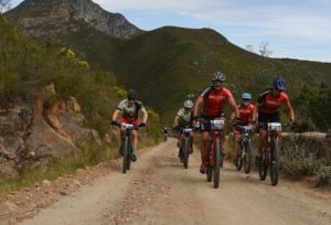 A front-view shot of riders on a gravel section during stage four of the Cape Pioneer Trek. Photo: Carli Smith