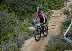 A rider nearing the bottom of a tricky descent during the prologue of the Cape Pioneer Trek. Photo: Zoon Cronje