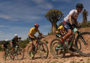 The leading men teams labouring up a climb in an arid section during stage four of the Cape Pioneer Trek. Photo: Carli Smith