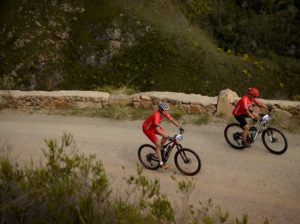 An aerial shot of riders during stage four of the Cape Pioneer Trek. Photo: Carli Smith