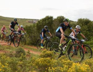 Riders moving down a gradual descent during stage two of the Cape Pioneer Trek. Photo: Carli Smith