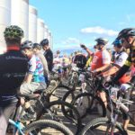 Riders pictured before the start of the Java MTB Challenge yesterday. Photo: Facebook/Rola Ford