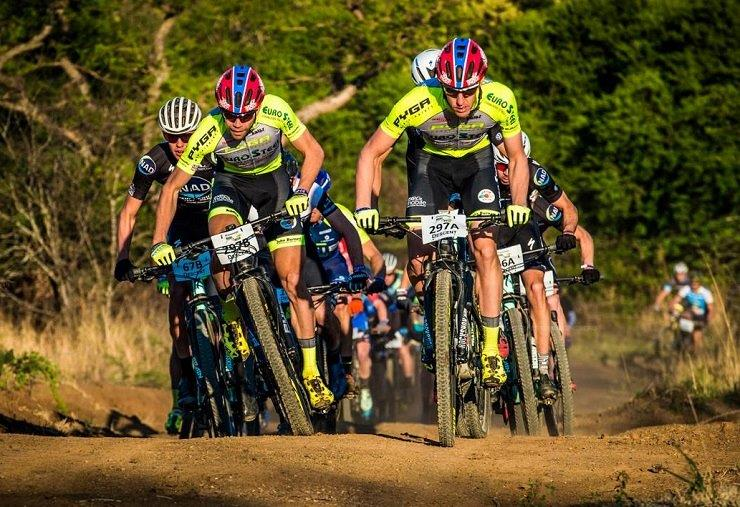 Philip Buys (front left) and Matthys Beukes (front right) won the 48km third and final stage and with it the Berg and Bush 'Descent' title when the race concluded today. Photo: Volume Photography/Tobias Ginsberg