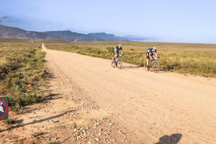 Songo.info's Craig Boyes and Christoph Sauser claimed their third straight victory when they won the 107km stage three of the Rainmaker RollerCoaster gravel stage race today. Photo: Facebook/HotChillee