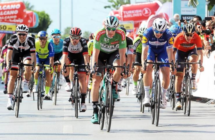 Bora-Hansgrohe's Sam Bennett sprinted to victory on the 154.1km second stage of the Tour of Turkey in Antalya today. Photo: Presidential Tour of Turkey/Brian Hodes