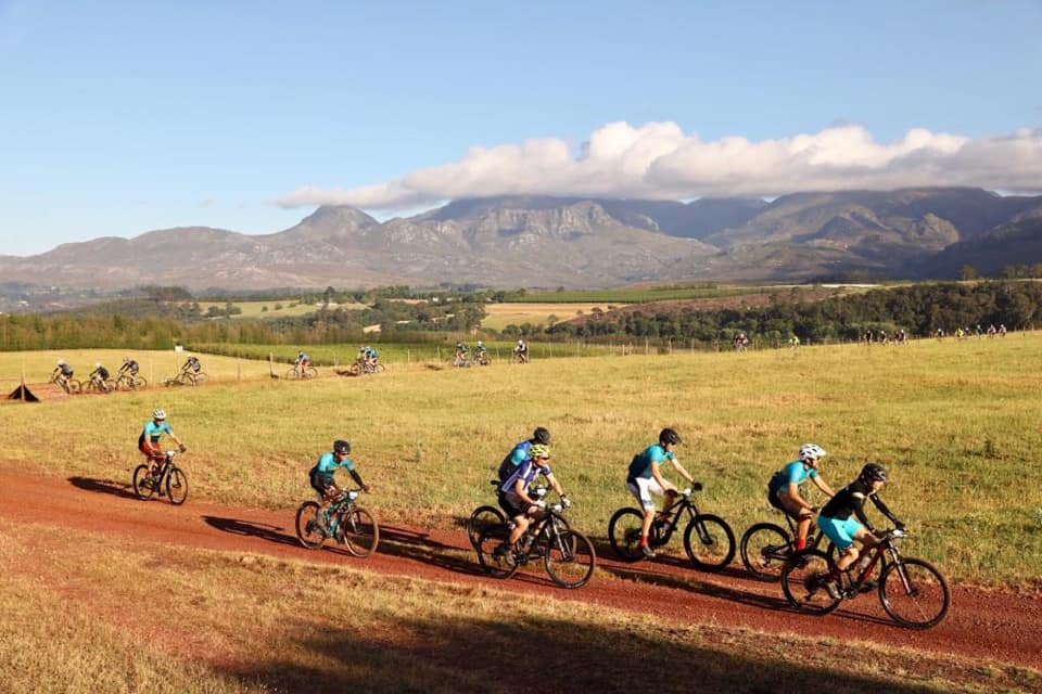 Mountain bikers in action during a Wines2Whales Pinotage stage