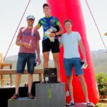Casper Pretorius (centre) won the men's feature race of the Jakkalsvlei Mountain Bike Ride yesterday, beating Henry Meyer into second (left) and Jandri Tracer (right) third. Photo: Charl Gerber Photography