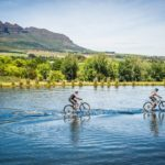Mountain bikers in action during the Origin of Trails