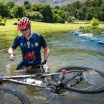 One rider's bike went for a swim while crossing the river at the Origin of Trails. Photo: David Tarpey